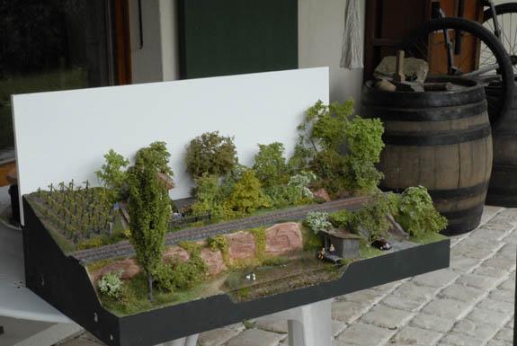 """Le module """"Un petit bout d'Alsace"""" de Dany Machi. Le tonneau ne sera pas présent à l'exposition, NDLR"""